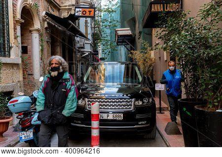 Istanbul, Turkey - 9 December 2020: Luxury Car Parking Istanbul Narrow Streets