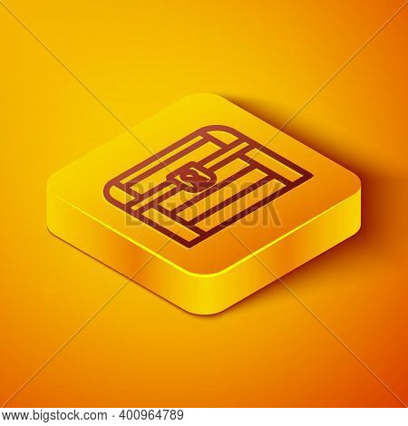 Isometric Line Antique Treasure Chest Icon Isolated On Orange Background. Vintage Wooden Chest With