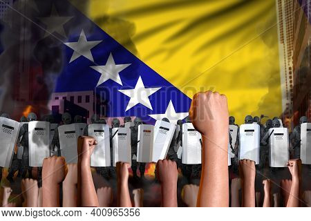 Revolt Stopping Concept - Protest In Bosnia And Herzegovina On Flag Background, Police Officers Stan