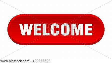 Welcome Button. Welcome Rounded Red Sign. Welcome