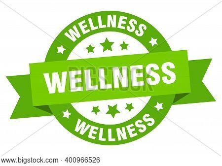 Wellness Round Ribbon Isolated Label. Wellness Sign