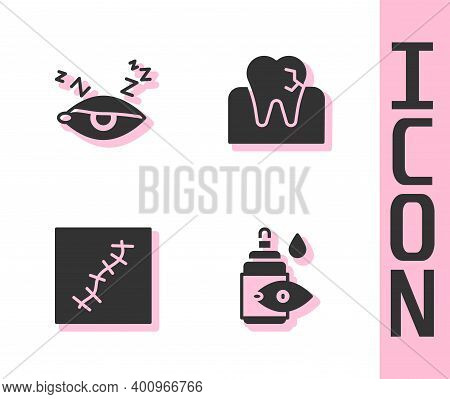 Set Eye Drop Bottle, Insomnia, Scar With Suture And Tooth Caries Icon. Vector
