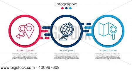 Set Line Route Location, Earth Globe And Search Location. Business Infographic Template. Vector