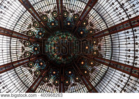 Paris, France - July 07 2017: Stained Glass Of The Cupola Inside Of The Main Building Of The Galerie