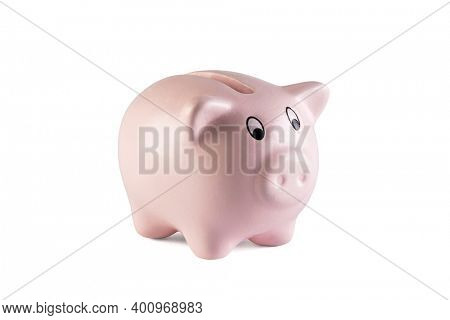 Pink piggy bank on white background with clipping path