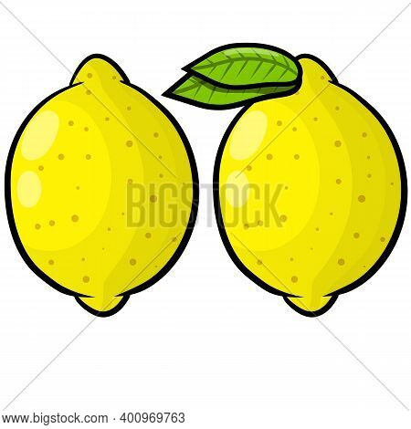 Limon. Vector Yellow Sour Fruit Isolated On White
