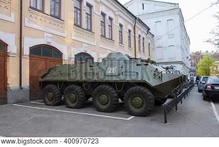 Kiev, Ukraine, April 26, 2011. An Armored Personnel Carrier At An Exhibition Of Cars Near The Cherno
