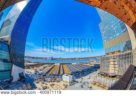 New York, Usa - March 8, 2020: The Public Square And Gardens At Hudson Yards, Rail Yards And Yellow