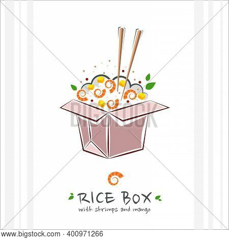 Rice Box With Shrimps And Mango. Healthy Food Design Template. Illustration With Takeaway Poke Bowl.
