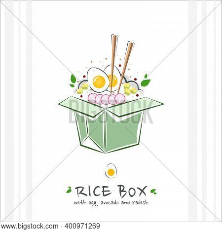 Rice Box With Egg, Avocado And Radish. Healthy Food Design Template. Illustration With Takeaway Poke