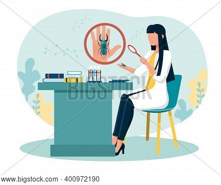 Female Scientist Examining Bug On Her Palm With Magnifier. Concept Of Entomology, Catching Insects,