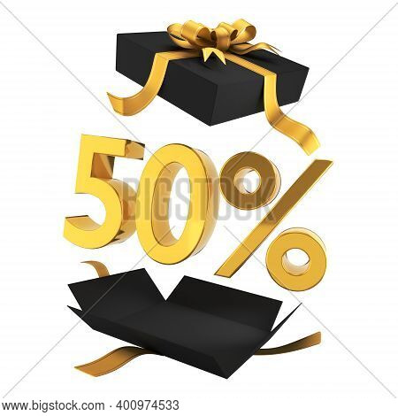 Gift Discounts. Discount In A Black Gift Box With Gold Symbols And Ribbon. Holiday Sale Banner Sign