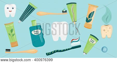 A Set Of Teeth And Accessories For Cleaning The Oral Cavity In A Cartoon Style. Toothpastes And Toot