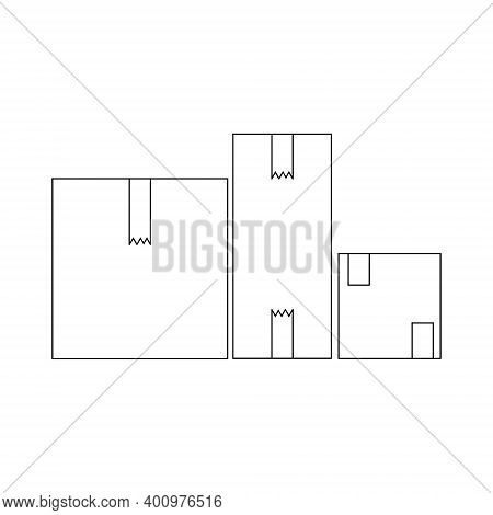 Outline Set Of Closed Packing Boxes, A Number Of Parcels Of Different Sizes, Vector Illustration
