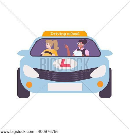 Driving School Student And Instructor In Car Flat Vector Illustration