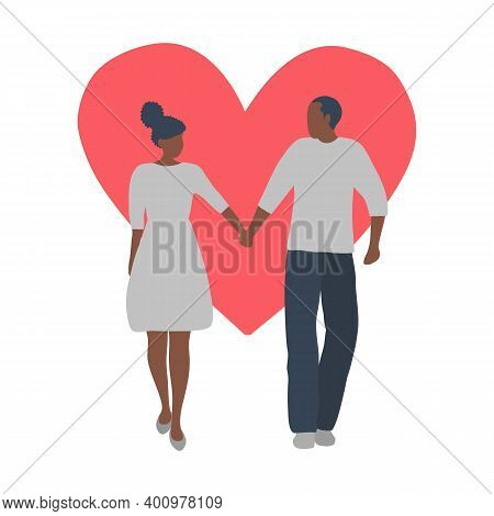 Valentine's Day Illustration. Couple Is Walking Holding Hands. Young Black Man And Young Black Woman