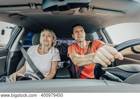 Frightened Couple Driving Car During Overspeed Accident. Traffic Accident With People, Insured Event