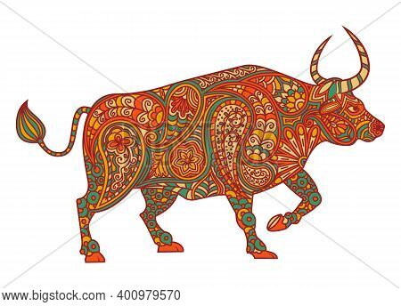 Colored Patterned Ox. Symbol Of The Chinese New Year 2021. The Bull Stands On Four Legs In Profile,