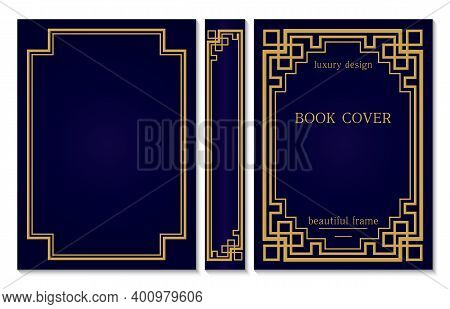 Vintage Book Cover And Spine Design With A Celtic Or Asian Weave Knot On The Corners. Luxury Gold Fr