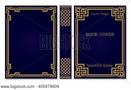 Book Cover And Spine Design With A Celtic Or Asian Weave Knot. Vintage Old Frames And Corners. Luxur