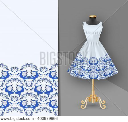 Fashion Embroidery Fabric Printed Dress On A Black Mannequin. Dress Clothes Realistic 3d Mock Up. Se
