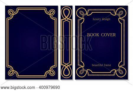 Design Of Vintage Binding For Book. Set Of Golden Frames. Classic Book Cover Design. Royal Style Dec