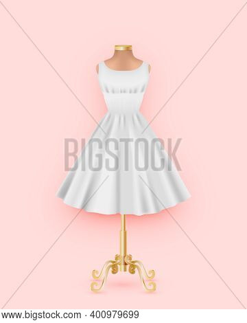 Mock Up Of White Dress On A Mannequin. Realistic 3d Female Clothing Without Sleeves With A Full Skir