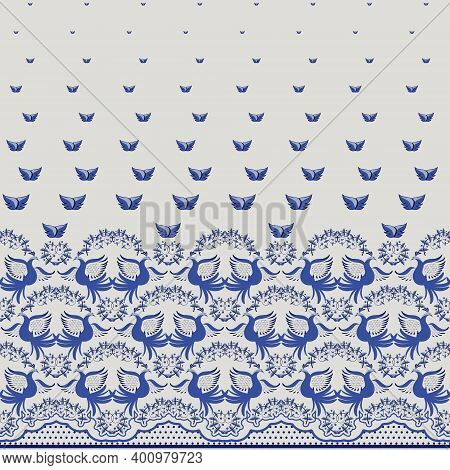 Seamless Blue Floral Pattern In Ethnic Painting Style. Coupon Ornament Border With Roses, Birds And