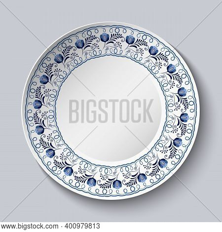 Plate With Blue Floral Patterned Border. Template Design In Ethnic Style Gzhel Porcelain Painting. R