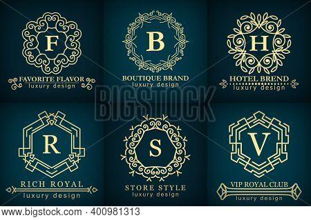 Vintage Antique Classic Logos Set. Template Elegant Modern Design For Premium Label, Frame, Product