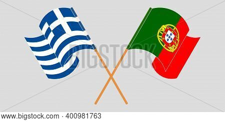 Crossed And Waving Flags Of Greece And Portugal. Vector Illustration