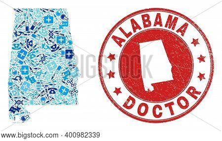 Vector Mosaic Alabama State Map With Vaccine Icons, Analysis Symbols, And Grunge Doctor Rubber Imita