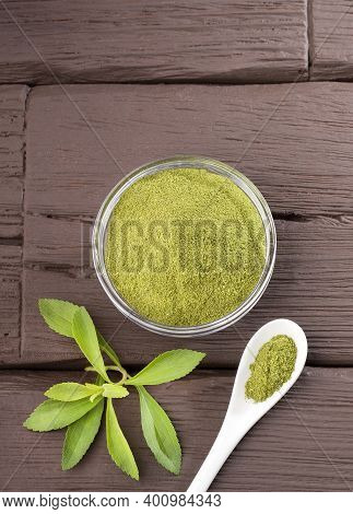 Stevia Natural Sugar Substitute - Stevia Rebaudiana. Wooden Background