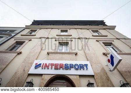 Subotica, Serbia - November 11, 2020: Intersport Logo On Their Main Store In Subotica. Intersports I