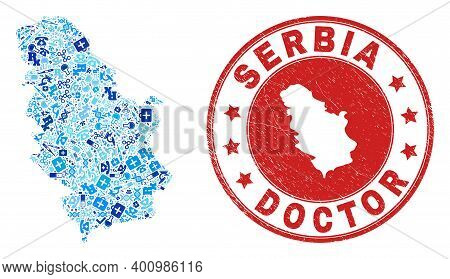 Vector Collage Serbia Map With Treatment Icons, Hospital Symbols, And Grunge Health Care Seal. Red R