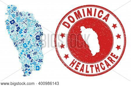 Vector Collage Dominica Island Map Of Treatment Icons, Receipt Symbols, And Grunge Health Care Impri