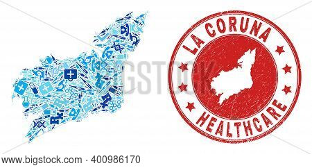 Vector Mosaic La Coruna Province Map With Dose Icons, Test Symbols, And Grunge Healthcare Stamp. Red