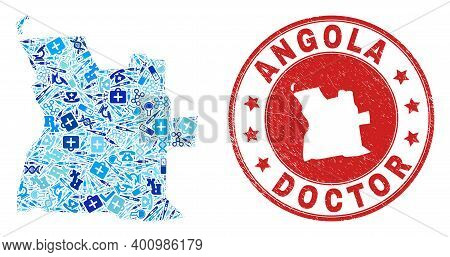 Vector Collage Angola Map Of Vaccination Icons, Hospital Symbols, And Grunge Healthcare Imprint. Red