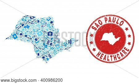 Vector Collage Sao Paulo State Map Of Injection Icons, First Aid Symbols, And Grunge Healthcare Seal