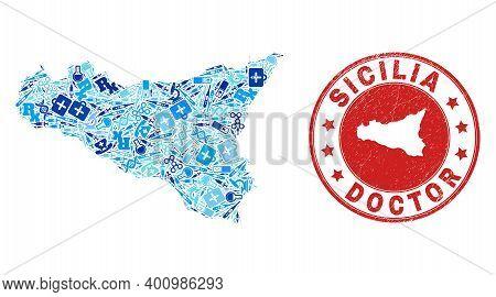 Vector Collage Sicilia Map With Dose Icons, Medicine Symbols, And Grunge Health Care Rubber Imitatio