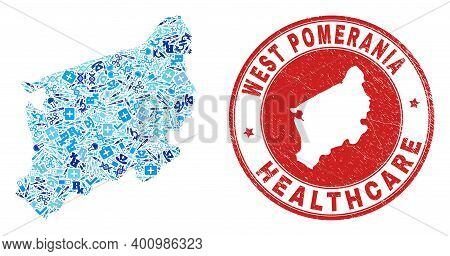 Vector Mosaic West Pomeranian Voivodeship Map With Injection Icons, Receipt Symbols, And Grunge Doct