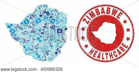 Vector Collage Zimbabwe Map With Treatment Icons, Laboratory Symbols, And Grunge Healthcare Imprint.