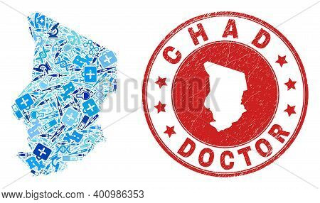 Vector Collage Chad Map With Inoculation Icons, Hospital Symbols, And Grunge Health Care Imprint. Re