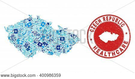 Vector Collage Czech Republic Map With Dose Icons, Laboratory Symbols, And Grunge Healthcare Rubber