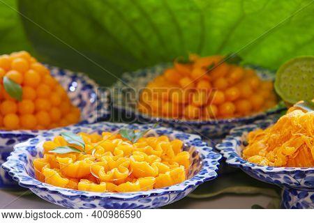 Closeup Of Artificial Thai Desserts,set Thai Sweetmeat Dessert Made From Egg And Sugar.