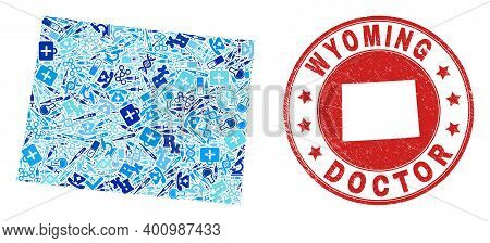 Vector Collage Wyoming State Map With Inoculation Icons, Hospital Symbols, And Grunge Healthcare Rub