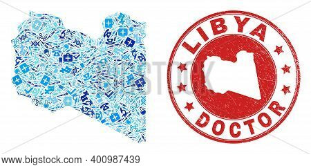 Vector Collage Libya Map With Medical Icons, First Aid Symbols, And Grunge Healthcare Stamp. Red Rou