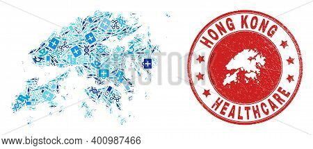 Vector Mosaic Hong Kong Map With Healthcare Icons, Receipt Symbols, And Grunge Healthcare Imprint. R