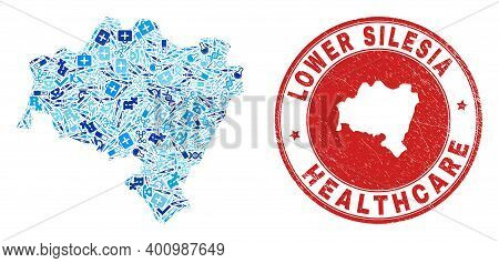 Vector Mosaic Lower Silesia Province Map Of Dose Icons, Test Symbols, And Grunge Health Care Rubber