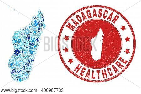 Vector Mosaic Madagascar Island Map With Healthcare Icons, Laboratory Symbols, And Grunge Healthcare